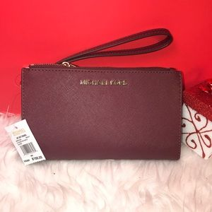 MICHAEL KORS WALLET MERLOT DOUBLE ZIP SAFFIANO